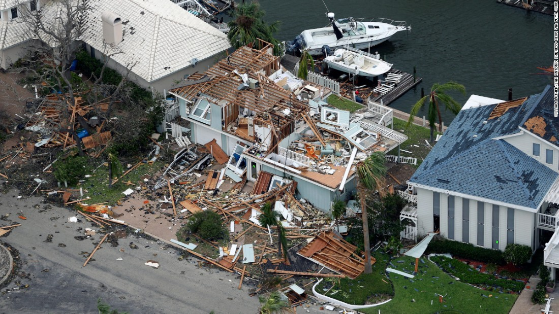 Damage to a home is seen in the Key Allegro neighborhood of Rockport on August 27.