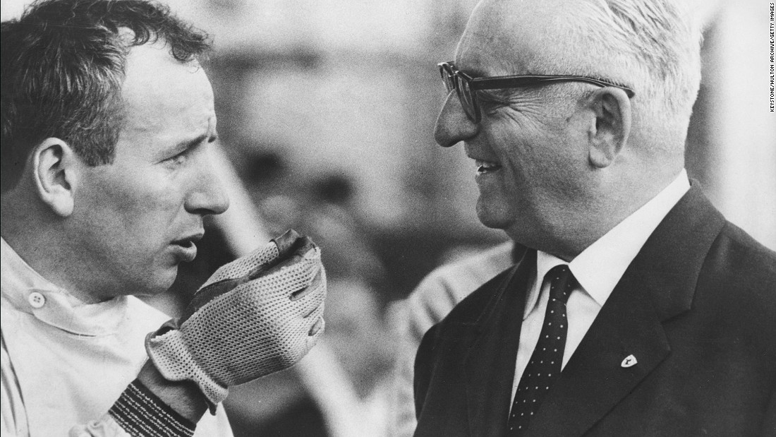 "Ferrari founder, Enzo Ferrari (right) talks to John Surtees at Monza ahead of the 1963 Italian Grand Prix. The Briton, who <a href=""http://edition.cnn.com/2017/03/10/motorsport/john-surtees-dies-f1-motorcycling/index.html"">died in March at the age of 83</a>, won the 1964 F1 World Championship with the Ferrari team."