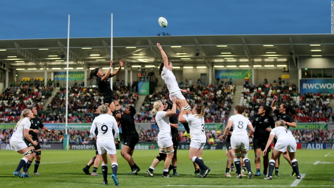 Players from England and New Zealand contest a lineout during the final of the Women's Rugby World Cup on Saturday, August 26. New Zealand, wearing its traditional all-black uniforms, won 41-32 for its fifth World Cup title since 1998.