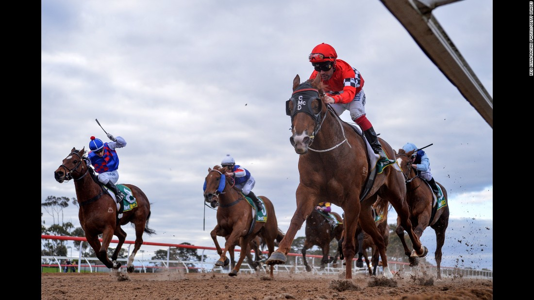 Sweet Perfume, ridden by Michael Walker, wins a race in Geelong, Australia, on Friday, August 25.