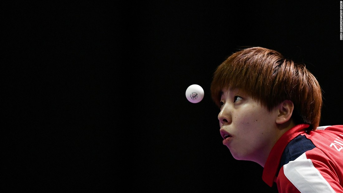 Singapore's Zhou Yihan serves a ball during the table tennis final of the Southeast Asian Games on Tuesday, August 22. She lost to her compatriot Feng Tianwei.