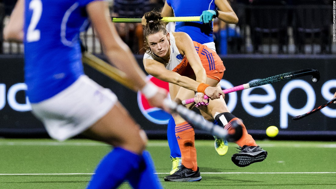 Dutch field hockey player Lidewij Welten hits the ball during a match against the Czech Republic on Tuesday, August 22. The Netherlands won 10-0 in what was a preliminary round match at the EuroHockey Nations Championship. The Dutch ended up winning the tournament, which took place on home soil.