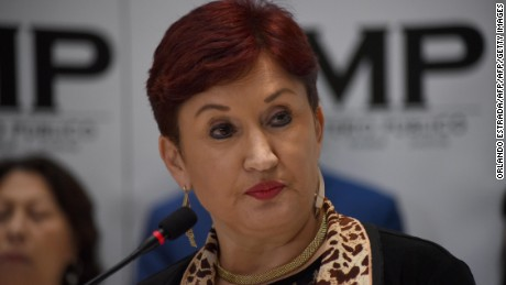 Guatemalan Attorney General Thelma Aldana offers a press conference at the headquarters of the Public Ministry in Guatemala City on August 28, 2017 during which she said President Jimmy Morales must obey an injunction by the country's top court that suspended his order to expel the head of the International Commission Against Impunity in Guatemala (CICIG). Guatemala faced a fresh political crisis Sunday as President Jimmy Morales tried to expel UN official Ivan Velasquez investigating him for suspected corruption, but was overruled by the courts. / AFP PHOTO / ORLANDO ESTRADA        (Photo credit should read ORLANDO ESTRADA/AFP/Getty Images)
