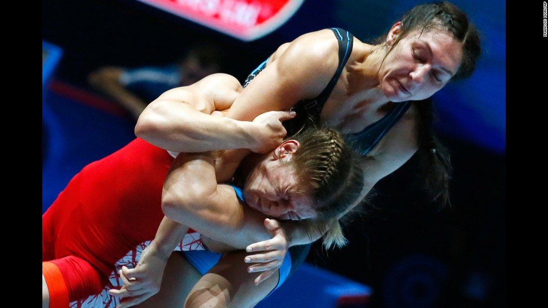 Belarus' Vasilisa Marzaliuk, right, competes against Turkey's Yasemin Adar at the World Wrestling Championships on Wednesday, August 23. Adar won the match to take gold in their weight class.
