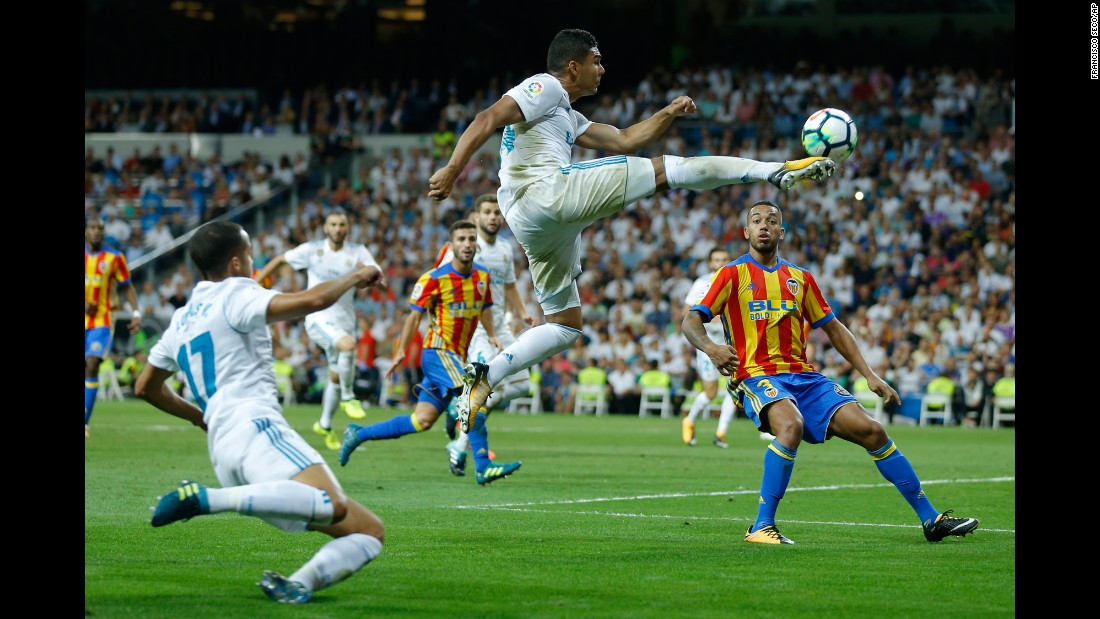 Casemiro, a midfielder for Real Madrid, leaps for a kick during a Spanish league match against Valencia on Sunday, August 27.