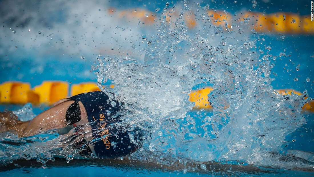 Vietnam's Hoang Quy Phuoc swims the 200-meter freestyle during the Southeast Asian Games on Wednesday, August 23. He won the silver.