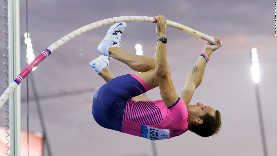 French pole vaulter Renaud Lavillenie competes during the Diamond League meet in Zurich, Switzerland, on Thursday, August 24.