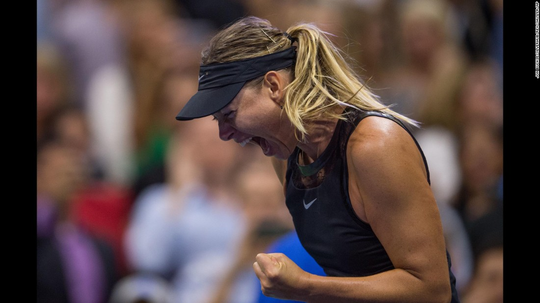 "Maria Sharapova celebrates her first-round victory at the US Open on Monday, August 28. Sharapova, <a href=""http://edition.cnn.com/2017/08/28/tennis/maria-sharapova-us-open-doping-ban-return/index.html"" target=""_blank"">making her first Grand Slam appearance since serving a 15-month doping ban,</a> defeated second-seeded Simona Halep 6-4, 4-6, 6-3."