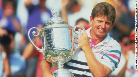 Golfer Nick Price of Zimbabwe with the trophy after winning the U.S. PGA Championship at the Bellerive Country Club, St. Louis, Missouri, 16th August 1992.  (Photo by Stephen Munday/Getty Images)