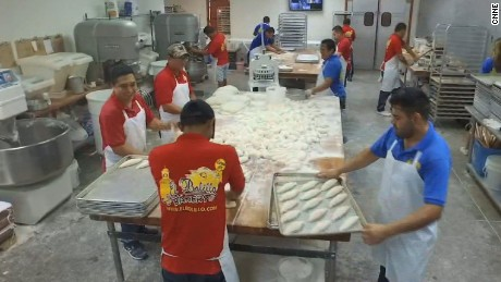 Most of the employees baked as much bread as they could a day before the storm hit.