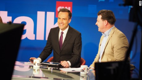 Max Foster and guests on the set of CNN Talk