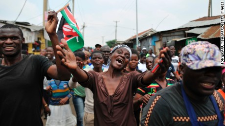 Supporters of the opposition leader celebrate Friday in the streets of Nairobi.