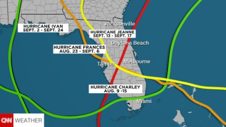 Four hurricanes crossed Florida in 2004