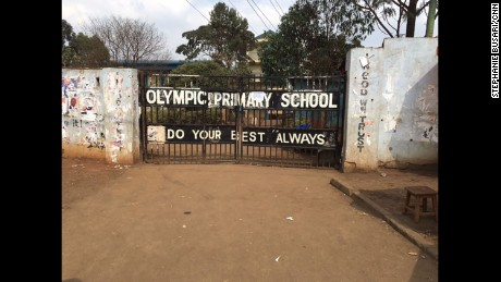 Bullet holes are seen outside Olympic Primary School in the Kibera slum.