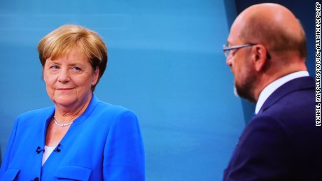 Martin Schulz and Angela Merkel  faced off in the only live TV debate before the election on 24 September.