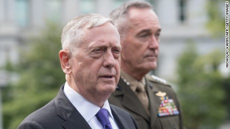 US Defense Secretary James Mattis (L) and Gen. Joseph Dunford, chairman of the Joint Chiefs of Staff, arrive to speak to the press about the situation in North Korea at the White House in Washington, DC, on September 3, 2017.
