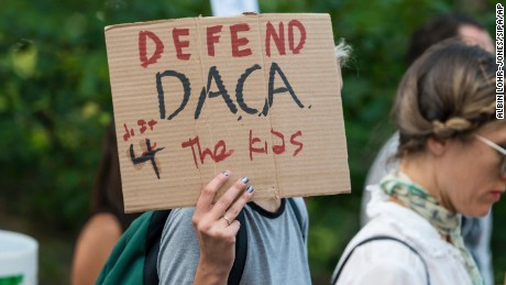 "Activists rallied in Columbus Square and marched from there to Trump Tower in protest of President Donald Trump's possible elimination of the Obama-era ""Deferred Action for Childhood Arrivals"" (DACA) which curtails deportation of an estimated 800,000 undocumented immigrants in New York, NY, USA on August 30, 2017. (Photo by Albin Lohr-Jones)(Sipa via AP Images)"