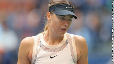 Sharapova during her fourth round defeat to Latvia's Anastasija Sevastova.