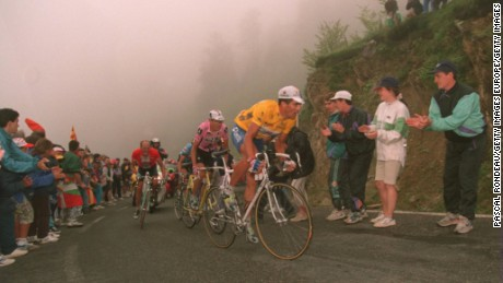 Miguel Indurain, pictured in the yellow jersey, is shown competing in the 1995 Tour de France.