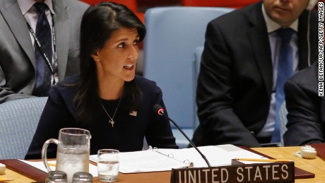 US Ambassador to the UN Nikki Haley speaks during a UN Security Council emergency meeting over North Korea's latest missile launch, on September 4, 2017 at UN Headquarters in New York. (KENA BETANCUR/AFP/Getty Images)