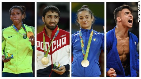Rio 2016 champions Rafaela Silva, Khasan Khalmurzaev, Majlinda Kelmendi and Fabio Basile (L-R) were unable to repeat the feat in Budapest.
