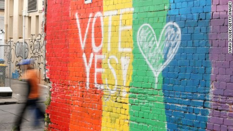 "A wall painted with the rainbow flag and a message ""Vote Yes"" is seen in Newtown on August 28, 2017 in Sydney, Australia."