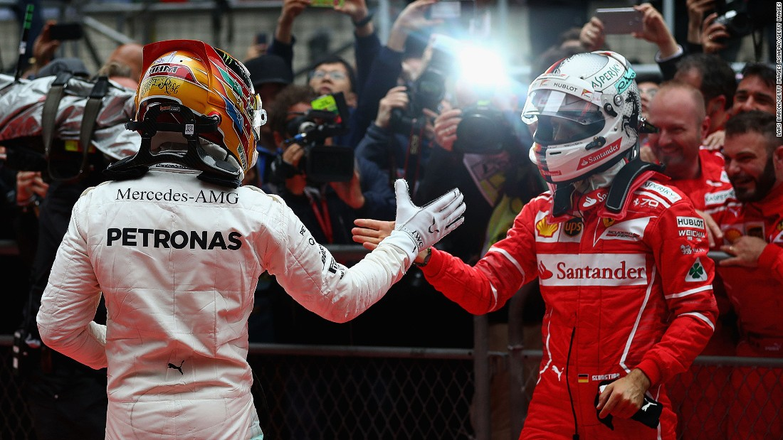 Lewis Hamilton (left) and Sebastian Vettel have been battling on track all season. Click through the gallery to see how the 2017 Formula One season has played out.