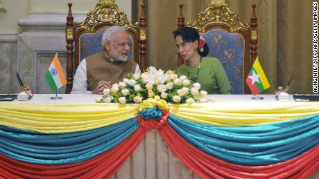 India's Prime Minister Narendra Modi and Aung San Suu Kyi met in Naypyidaw on September 6, 2017.