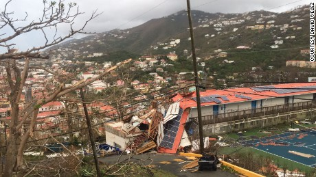 This photo shows the damage to buildings in St. Thomas of the US Virgin Islands on September 7.