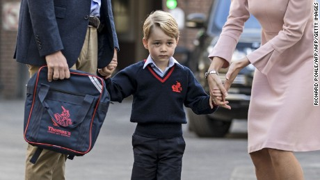 Britain's Prince George arrives for his first day of school at Thomas's Battersea on September 7, 2017.