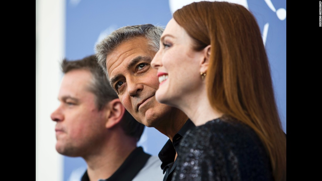 "From left, actors Matt Damon, George Clooney and Julianne Moore pose for photos during the <a href=""http://www.cnn.com/style/gallery/venice-film-festival-2017/index.html"" target=""_blank"">Venice International Film Festival</a> on Saturday, September 2. Damon and Moore star in the new film ""Suburbicon,"" which Clooney directed."