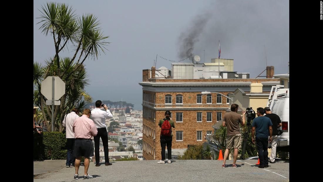 "People watch black smoke <a href=""http://www.cnn.com/2017/09/01/politics/russia-consulate-san-francisco-smoke/index.html"" target=""_blank"">billow from a chimney</a> at the Russian consulate in San Francisco on Friday, September 1. It was a day before the Russian government had to vacate the facility and a few others like it around the United States. The US State Department <a href=""http://www.cnn.com/2017/08/31/politics/us-russia-retaliation-orders-closure-consulate/index.html"" target=""_blank"">announced the closings</a> in response to mandated staff cuts at the US mission in Russia."