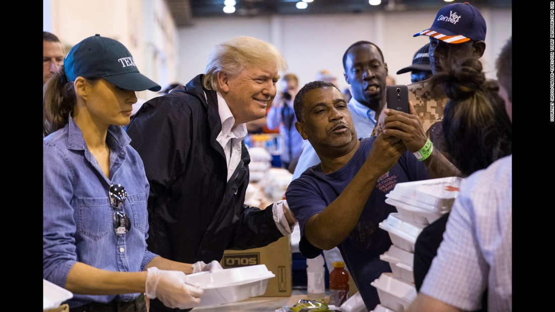 "A man takes a selfie with President Donald Trump in Houston as Trump <a href=""http://www.cnn.com/2017/09/02/politics/donald-trump-texas-harvey/index.html"" target=""_blank"">handed out food</a> to Hurricane Harvey evacuees on Saturday, September 2."
