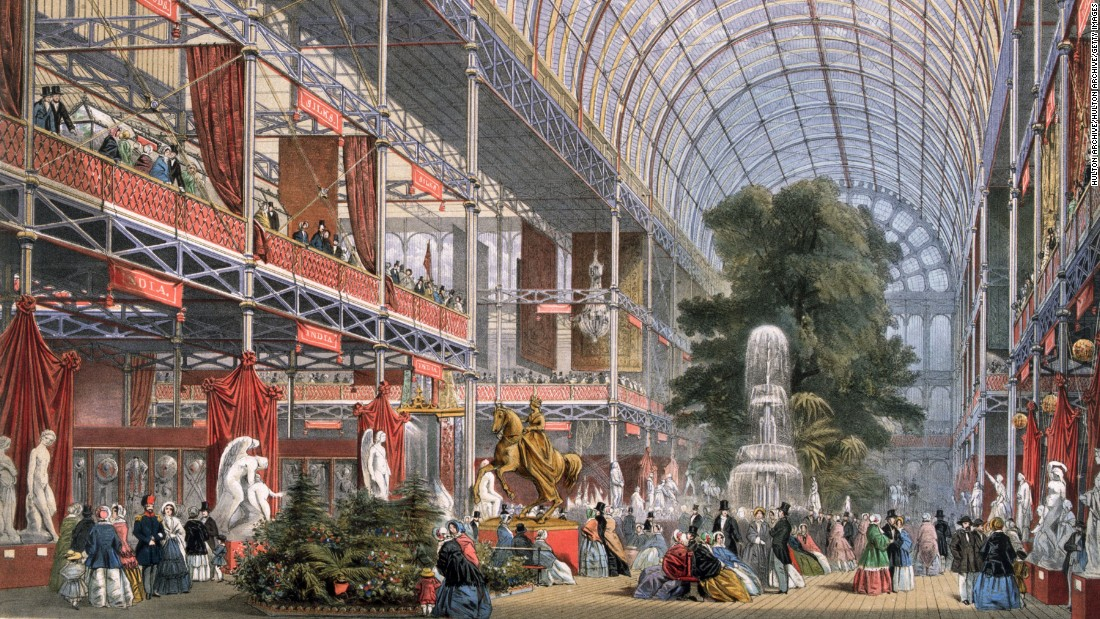 "Where the expo craze all began. Held in the Crystal Palace, a custom-built glass confection <a href=""https://www.britannica.com/topic/Crystal-Palace-building-London"" target=""_blank"">1,848 feet long and 408 feet wide</a>, the unprecedented event hosted technological innovation and cultural curiosities from around the world. Exhibits included the Koh-i-Noor diamond and the Americas Cup. The exhibition, overseen by Prince Albert, was wildly successful, turning a profit from over six million visitors including Charles Darwin, Charles Dickens, Charlotte Bronte and Lewis Carroll. <br /><strong><br />Legacy:</strong> Three years after the exhibition closed, the palace was relocated from Hyde Park to Sydenham Hill in Southeast London. It passed between hands until 1936 when the structure was <a href=""https://upload.wikimedia.org/wikipedia/commons/d/d3/Crystal_Palace_Destoyed_1936.jpg"" target=""_blank"">consumed by fire</a>. Its central legacy is the tradition of global expos, while the Crystal Palace gave its name to the area surrounding its second home. It also introduced to the world the modern public lavatory."