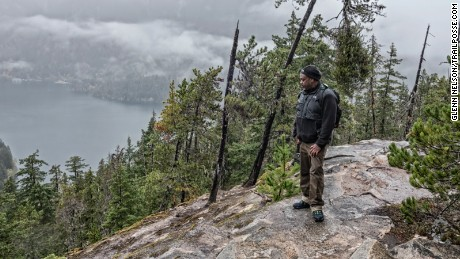 Alan Spears, director of cultural resources in the government affairs department at the National Parks Conservation Association, surveys Diablo Lake in North Cascades National Park in Washington state.