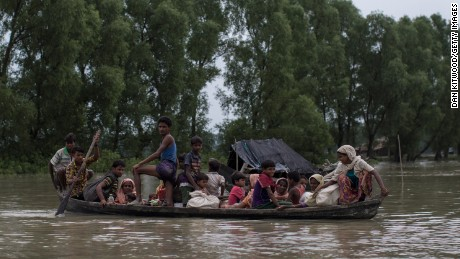 Rohingya Muslim refugees make their way into Bangladesh after crossing the Myanmar Bangladesh border on September 07, 2017