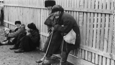 April 1934:  A group of homeless peasants near Kiev during a famine in the Soviet Union.  (Photo by Hulton Archive/Getty Images)