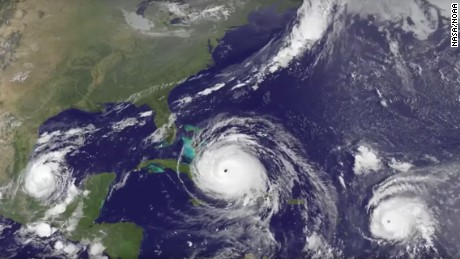 Satellite imagery shows Category 4 Hurricane Irma approach the Bahamas, followed by Hurricane Jose approaching the Leeward Islands. Hurricane Katia spins in the southwestern Gulf of Mexico.