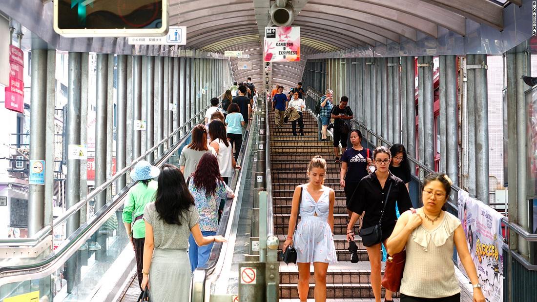 See hilly Hong Kong on escalator that sets records