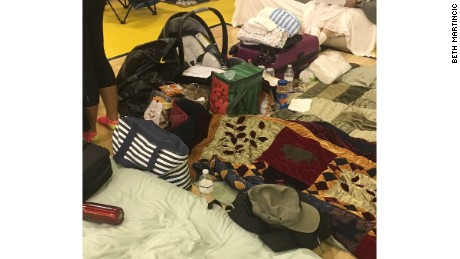 A glimpse of the family's belongings at the shelter in Weston, Florida.