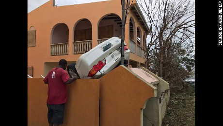 A vehicle turned upside down by winds brought on by Hurricane Irma in the British overseas territory of Anguilla.
