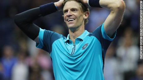 Kevin Anderson celebrates after defeating Pablo Carreno Busta to reach his first major final.