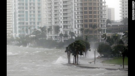 Waves batter a seawall in Miami as Hurricane Irma arrives on September 10.