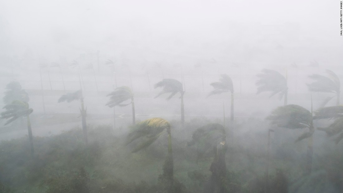 Heavy winds and rain blow through Miami on September 10.