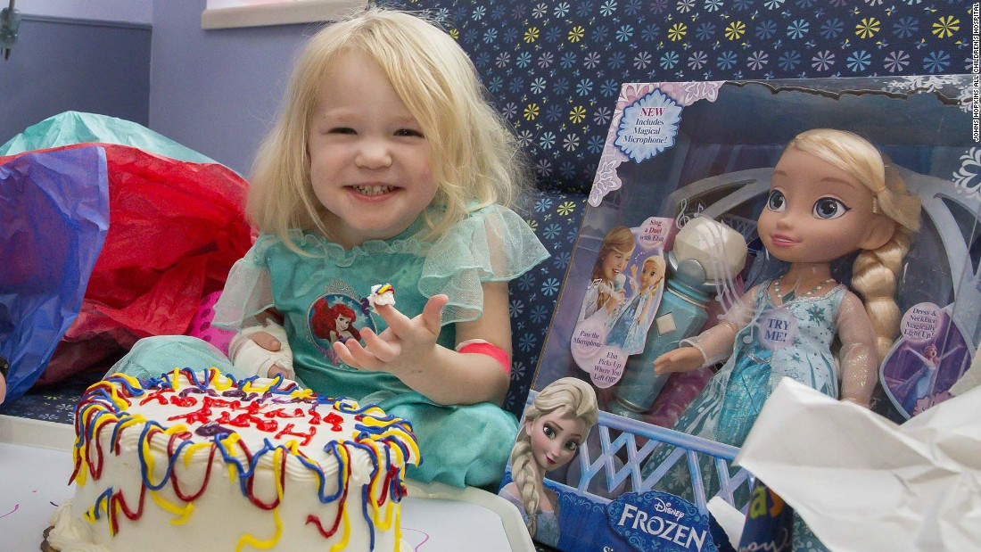Willow Stine was diagnosed with leukemia on Friday and turned 3 on Sunday. Most of<strong> </strong>her family, including her sister and dad, couldn't get to the hospital to celebrate because of Hurricane Irma. <br />Kelly Boyd, a child life specialist, and other hospital staff made a birthday party for Willow, cake and all.<br />