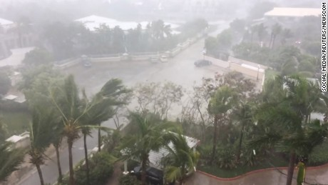 Hurricane Irma descends on Providenciales, in the Turks and Caicos Islands, on September 7.
