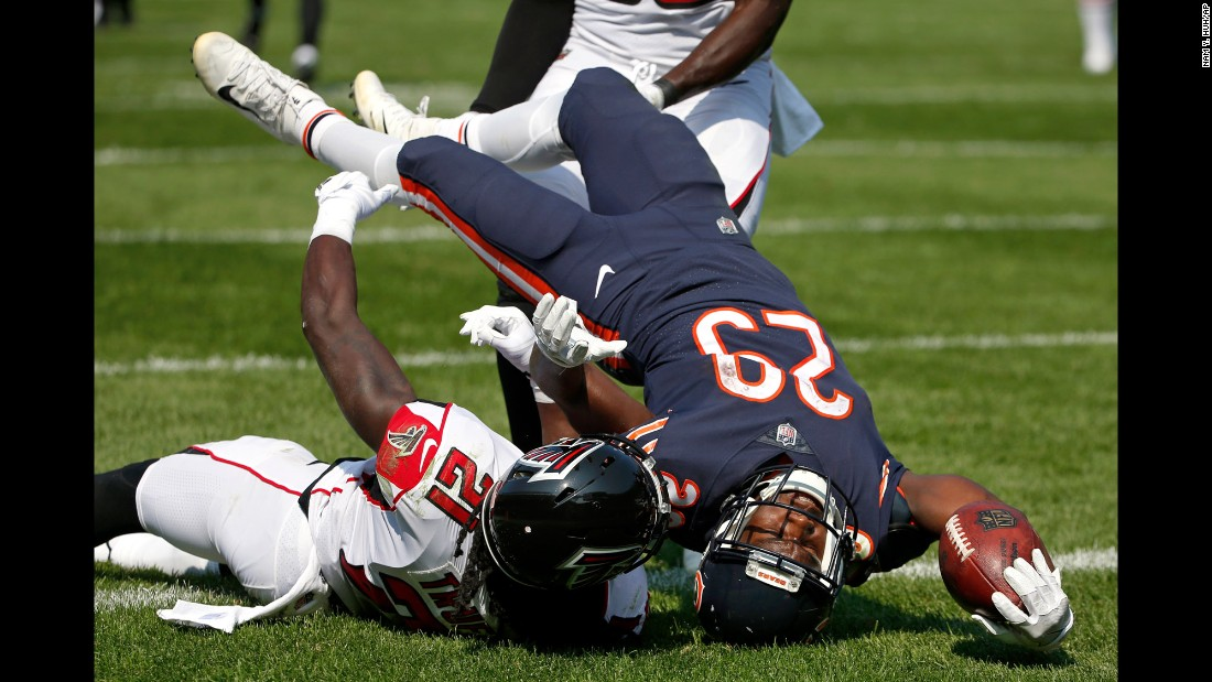 Chicago running back Tarik Cohen dives into the end zone during the season opener against Atlanta on Sunday, September 10. Cohen and the Bears came up short, however, against last year's NFC champions. The Falcons won 23-17.