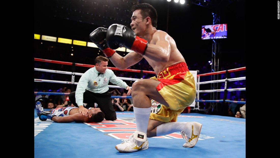 Srisaket Sor Rungvisai, the WBC super-flyweight champion, celebrates after he knocked out Roman Gonzalez in the fourth round on Saturday, September 9. It was a rematch of their title fight in March, when Sor Rungvisai won the belt by majority decision.
