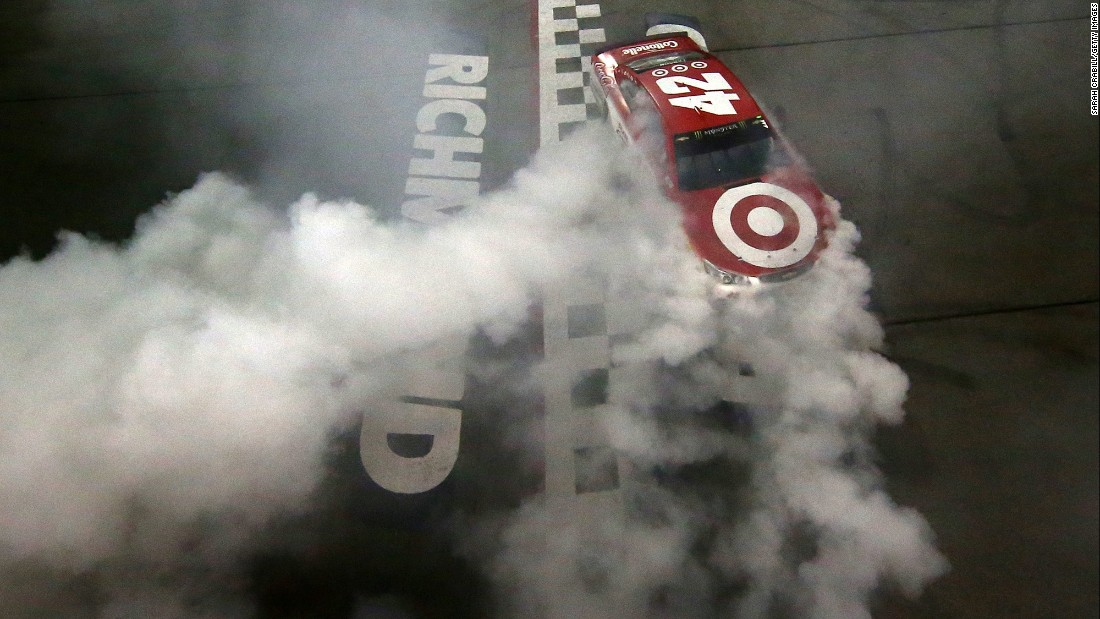 NASCAR driver Kyle Larson celebrates with a burnout after winning the Cup Series race in Richmond, Virginia, on Saturday, September 9. It was the fourth victory of the season for Larson, who enters the playoffs ranked second in the overall standings.