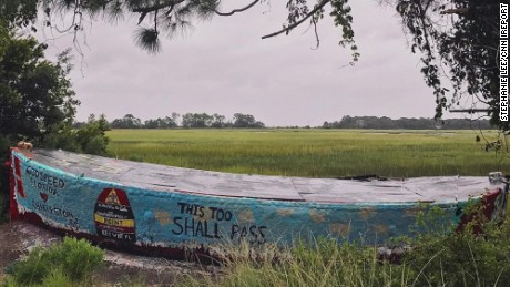 Stephanie Lee took this photo of the famous Folly Boat that was a landmark on the road to Folly Beach. The boat is often painted with messages and pictures. Lee took this photo on Sunday night and it had messages of support for the Florida Keys and others impacted by Hurricane Irma.